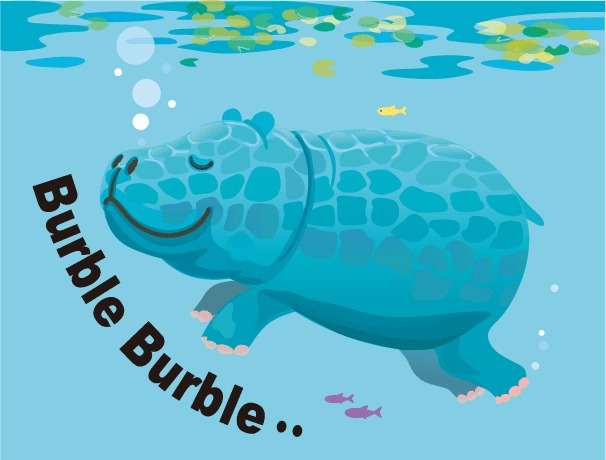 川の中を泳ぐカバのイラスト