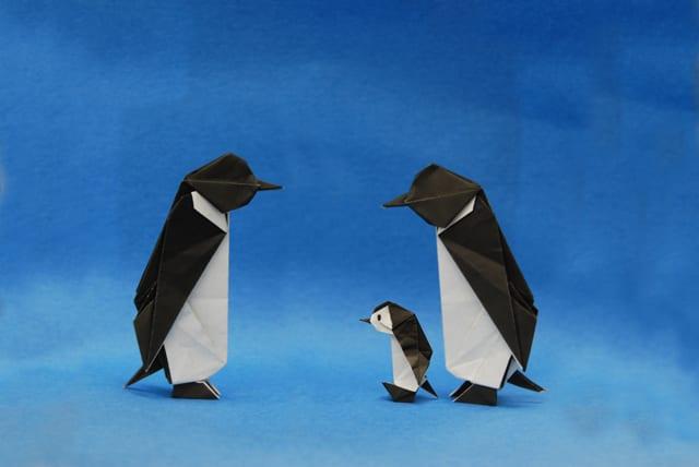 すべての折り紙 折り紙 犬 折り方 : ペンギン親子折り紙できました ...
