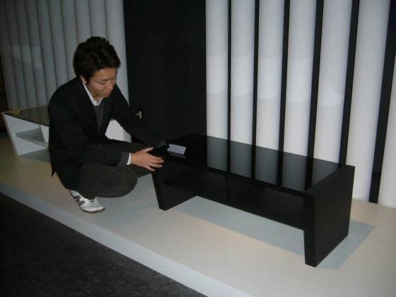 UV塗装センターテーブル(ブラック)