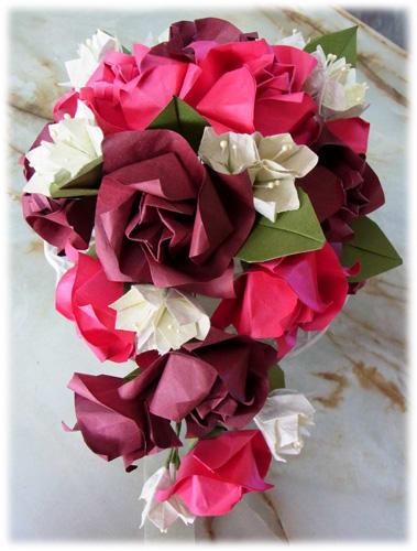 すべての折り紙 折り紙 バラの花束 : ... 折り紙】花束 ・ブーケ [作り方