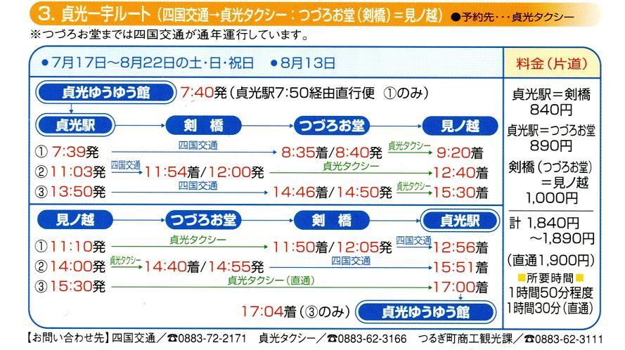 2010年4月1日からの三好市東祖谷地区スクールバス時刻表