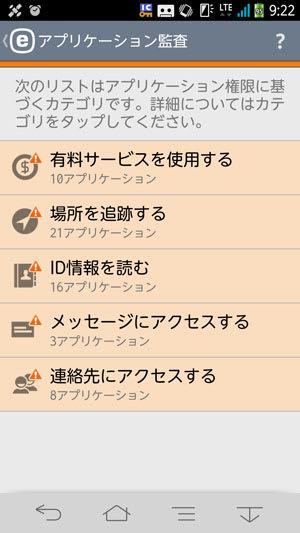 アプリケーション監査の結果。それぞれの権限ごとに許可されているアプリが一覧表示される