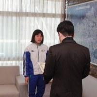 「第41回全国JOCジュニアオリンピックカップ夏季水泳競技大会」に出場した森田毬愛さんに箕面市長表彰!