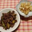 牛肉とアスパラのオイスターソース炒め&ゆりねの甘煮