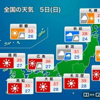 日曜も厳しい暑さに 名古屋で39℃を予想