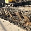 再生土の埋め立て崩落現場
