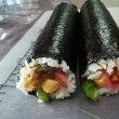 お昼は巻き寿司夜はお餅のお焼き