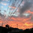 夕空は,刻々と変化して真っ赤っかに