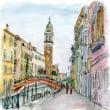 水彩画・ベネチュアを描く 14  煉瓦の橋と塔のある風景  270×270
