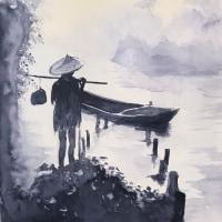 暇爺絵日記  釣り人