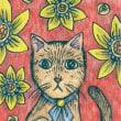 20170719猫イラスト。絵画。絵。水彩色鉛筆。ミリペン。