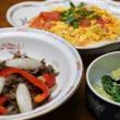 レシピ付き献立 牛肉と玉ねぎの炒め物・トマトと卵の炒め物・たたききゅうりの和え物・中華コーンスープ