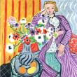 アネモネと紫のローブを着た女