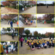 ソフトボールのメンバーと小学4年生の、合同清掃作業