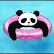 パンダ、プールへ行く。