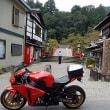 彼岸花と赤いバイク