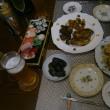 帰国日の晩ご飯(雲と富士山)