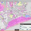 高知県の各市町村の津波避難用の色別の標高地図。ゼロ~5~10~20~30~40メートル、40メートル以上の6段階の標高の範囲の地図
