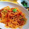 ハムとシメジのトマトソーススパゲッティ