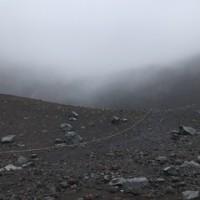 風雨の中で宝永山登山