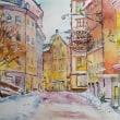 水彩画 雪景色の街 2