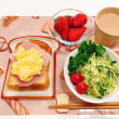 ハムと卵のトーストで朝ごはんと テラス緑化計画