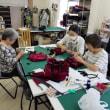 手芸講習会の様子と作品(巾着型バック)