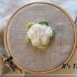 野菜の刺しゅう 「カリフラワーとブロッコリー」