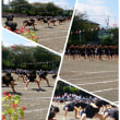 秋空の下での暑い熱い運動会