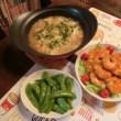 ガーリックシュリンプ&中華スープ水餃子&スナップエンドウ