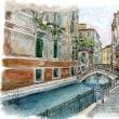 水彩画・ベネチュアを描く 6  裏通りの橋      360×260