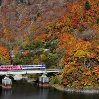 紅葉の田子倉湖畔を行く