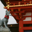 The fox of Fushimi Inari shrine (伏見稲荷大社, Fushimi Inari Taisha)  and inari-sushi (稲荷寿司).