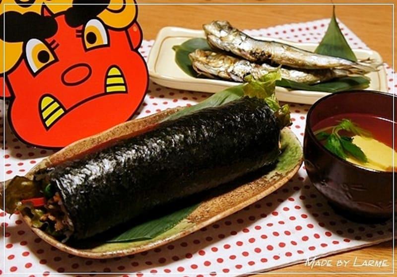 恵方巻き~焼肉ロール~とお寿司に合うお吸い物