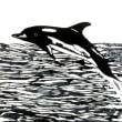 イルカ   切り絵  A4