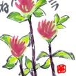 絵手紙:雪の下・赤詰草