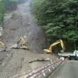 北川村安倉、崩落土砂の取り除き作業が始まりました。