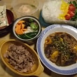 ラム肉とナスとパプリカのツナの炒め物