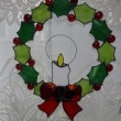 ステンドグラスのクリスマスリース