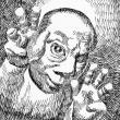 岡本太郎(ペン画の似顔絵)
