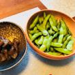 コンニャクのピリ辛炒めと枝豆☆