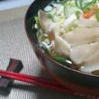 白菜とベーコンのクリームスープ 蓮根のペペロンチーノ