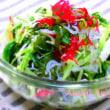 【ほっぷ アケミーナの楽しい食卓66 海藻と水菜のぷちぷちサラダ 旨味白ワインと 野菜とワインのソムリエ 山口県】