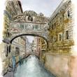水彩画・ベネチュアを描く  38   溜息橋  230×310