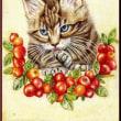 色鉛筆画395 (クランベリーと子猫)