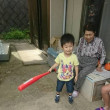 ハルちゃん、ひ孫と遊んで、、スイカわりと花火
