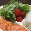 9/20(水)夕食(サケのムニエル、サラダ、ライス)。Camera(iPhone 6 Plus)。
