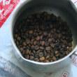 IHコンロでコーヒー豆焙煎