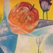 リンゴ、色紙、花をモチーフに不透明水彩絵の具を使って色彩で自由に表現しなさい。