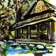 四谷の土手及びホテルニューオータニの日本庭園をスケッチ
